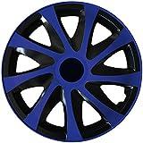 (Farbe & Größe wählbar) 14 Zoll Radkappen, Radzierblenden Draco Bicolor (Schwarz/Blau) passend für fast alle Fahrzeugtypen (universal)