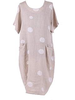 69d8eeedf8a LushStyleUK Ladies Italian Polka Dot Pocket Linen Dress Women Lagenlook Dress  Plus Sizes