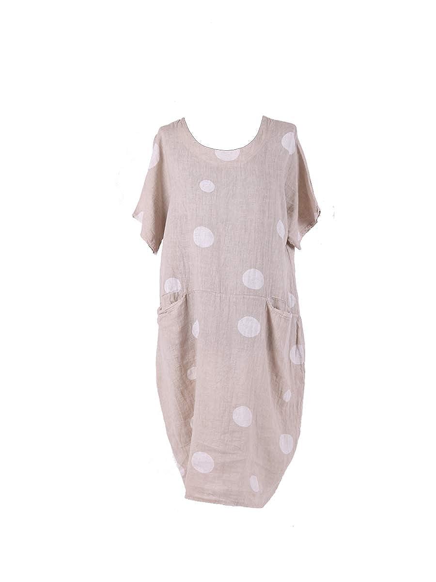 93dcb12a6b8 LushStyleUK Ladies Italian Polka Dot Pocket Linen Dress Women Lagenlook  Dress Plus Sizes (Beige)  Amazon.co.uk  Clothing