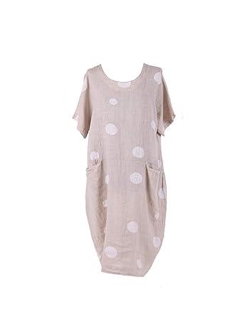 d065a9667d LushStyleUK Ladies Italian Polka Dot Pocket Linen Dress Women Lagenlook  Dress Plus Sizes (Beige)  Amazon.co.uk  Clothing