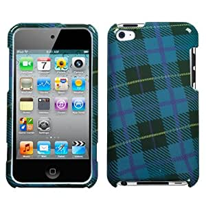 Hard Plastic Snap on Cover Fits Apple iPod Touch 4 (4th Generation) Blue Plaid Weave (Please carefully check your device model to order the correct version.)