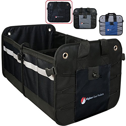 Higher Gear Car Trunk Organizer for Car, SUV, Auto, Truck, Home - Car Storage Organizer Features 2 Interior Compartments, 3 Exterior Pockets, Rigid Folding Bottom, No Slip Feet - Collapsible, Too!