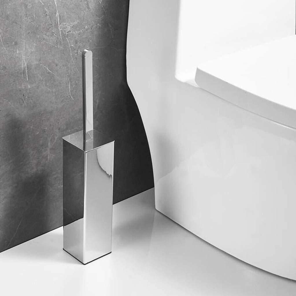 Color : Chrome Escobillas de ba/ño Cepillo de Dientes y Titular de Ajuste Toilet Bowl Pincel con Soporte for ba/ños de dise/ño Moderno Escobilla de ba/ño con Tapa de Metal Cromado Juego de escobillas