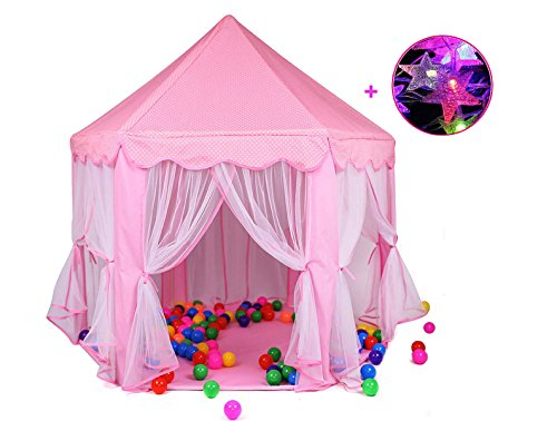 Do4u Large Indoor And Outdoor Kids Play House Pink Hexagon Princess Castle Kids Play Tent With Star Lights 55 X 53  Dxh  Pink Tent Light