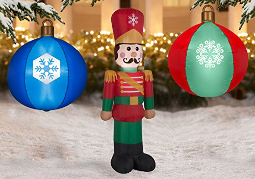 winter wonderland christmas inflatable led light up inflatables with toy soldier and 2 christmas ornaments perfect - Christmas Blow Up Decorations Outside
