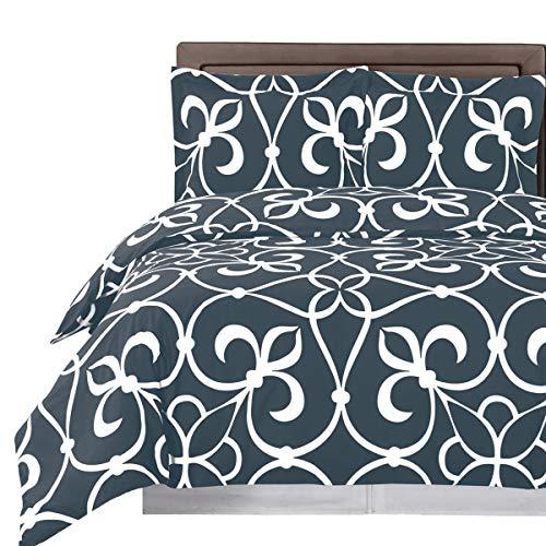 Blue and White Victoria 3-piece Full / Queen Duvet Cover Set, 100 % Cotton 300 TC