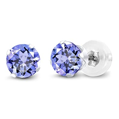 3368c3a7b20e37 Amazon.com: Gem Stone King 14K White Gold Tanzanite Stud Earrings, 1.00 Ctw  Gemstone Birthstone 5MM Round: Tanzanite Jewelry: Jewelry