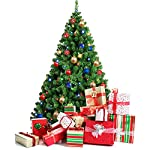 amzdeal 7.5FT Christmas Tree Xmas Tree Spruce Artificial Christmas Tree Fake Tree with Stable Stand Base Easy to Assembly, Green