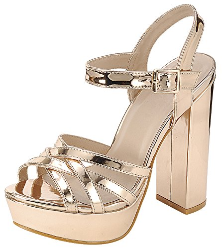 Cambridge Select Women's Peep Toe Ankle Strappy Platform Chunky Wrapped Heel Sandal (5.5 B(M) US, Rose Gold)