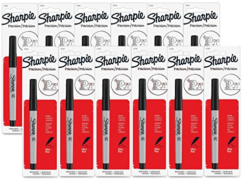 UPC 700064848272, Sharpie Permanent Marker, Ultra Fine Point, Black (Pack of 12)
