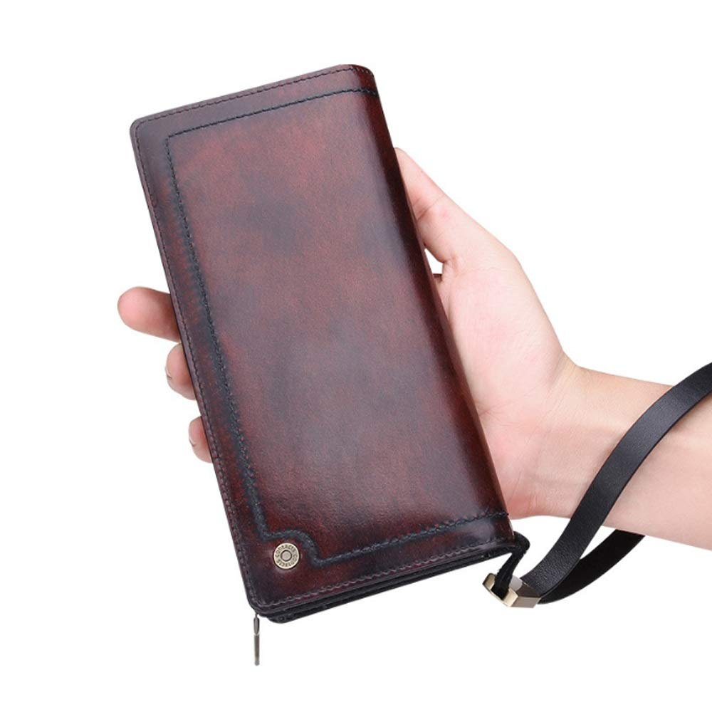 Color : Brown, Size : S DAYIYANG Special Design Mens Wallet Leather Long Clutch Bag Retro Fashion Wallet