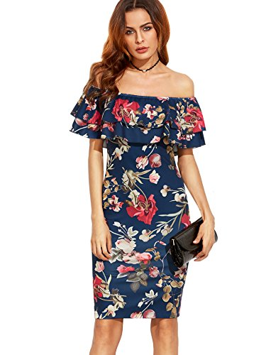 al Ruffle Off Shoulder Party Sexy Bodycon Dress Navy L ()