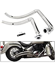 BAIONE Staggered Shortshots Full Exhaust Pipe Kit Silencer Mufflers Pipe for Suzuki Boulevard C50 C50T M109R VZR1800 C90T S40 M50 M90 2006-2021 (Chrome)