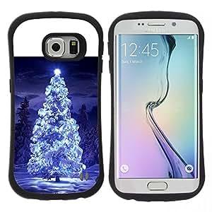 """Hypernova Slim Fit Dual Barniz Protector Caso Case Funda Para Samsung Galaxy S6 EDGE [Luces del árbol de navidad nieve azul noche de invierno""""]"""
