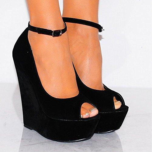 Plates Noir Chaussures AUS6 Toes Coins Calé Formes EURO38 UK5 Talons USA7 Peep Mesdames Hauts Womens Tn5qFF