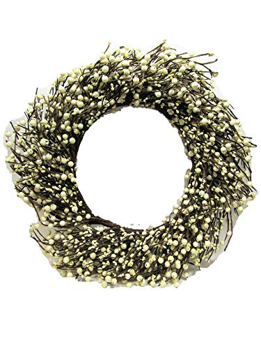 Cheap KMI New Homestead Rustic 19″ Country Primitive Cream/Off White Pip Rice Mixed Berry Wreath