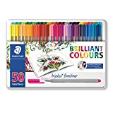 Staedtler Triplus Fineliner Pens - Johanna Basford Edition Metal Gift Tin of 50 Brilliant Colours - 0.3mm