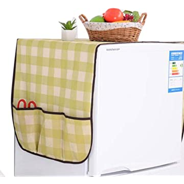 Miseku Refrigerator Covers,Fridge Dust-Proof Cover Washing Machine Top Cover with Storage Pockets