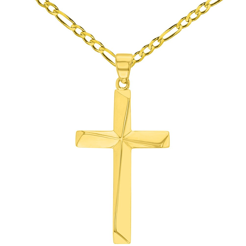 Solid 14K Yellow Gold Elegant Religious Plain Cross Pendant with Figaro Chain Necklace, 18''
