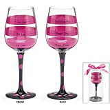 Hot Pink Black Polka and Stripe Fill Line Wine Glass Rough Day Don't Ask 12oz Gift