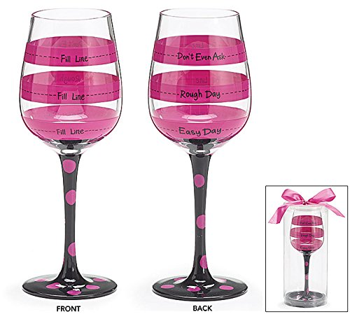 Hot Pink Polka Dot Funny Wine Glass