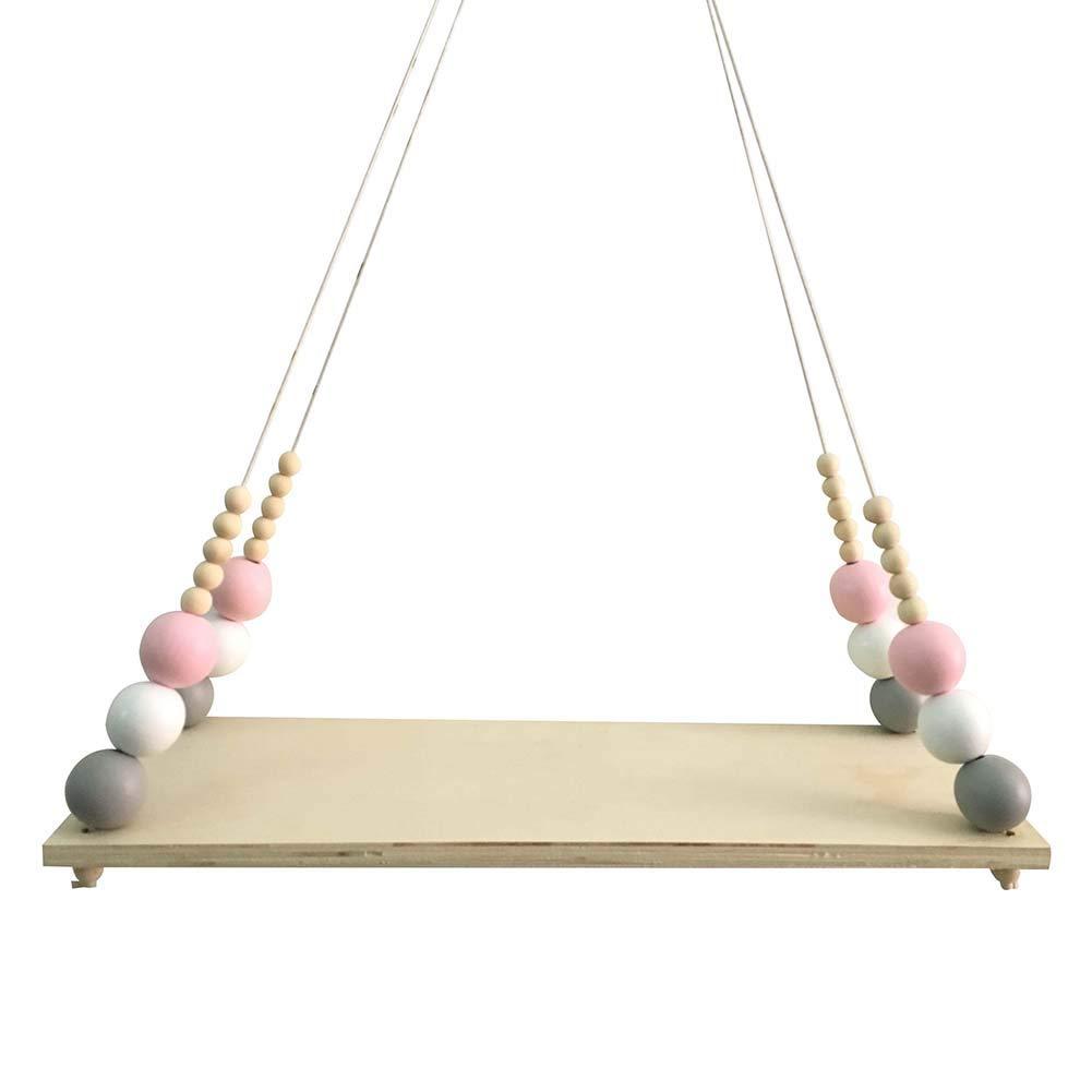 gainvictorlf Nordic Wood Beads Board Hanging Storage Shelf Kids Room Nursery Home Wall Decor (Golden White Pink)