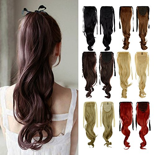 Ariana Grande Halloween Costume For Kids (Sexybaby Binding Tie up Synthetic Ribbon Ponytail Extensions Heat Resistant One Piece Drawstring Pony Tail Long Wavy Curly Soft Silky for Women Lady Girls 18'' / 18 inch (Medium)