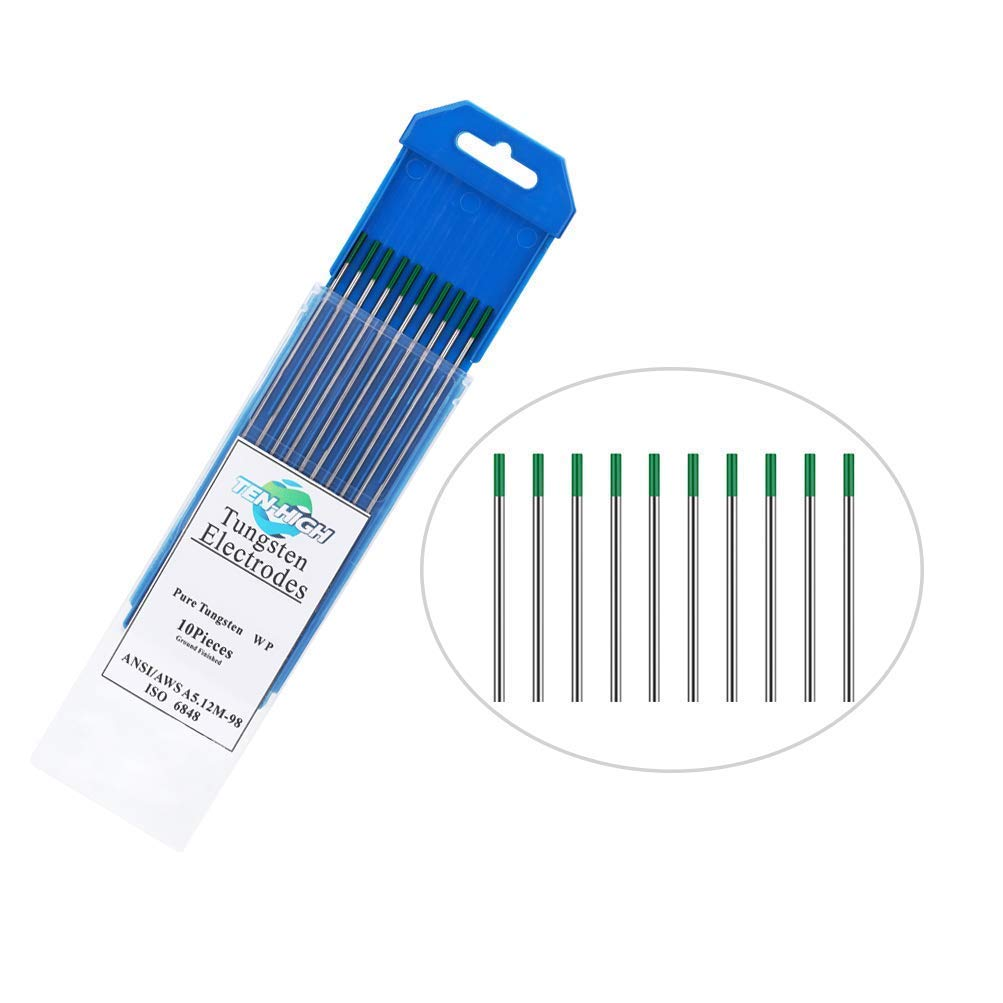 175 mm de 10 pi/èces par paquet TEN-HIGH Soudage TIG Electrodes de Tungst/ène Pur WP Vert 1,0