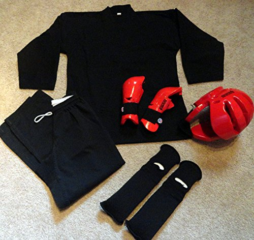 Wingsmarketshop 7PCS Karate Martial ArtsTaekwondo Equipment Sparring Gear Uniform Size 3 Black - Dragon Ninja Kama