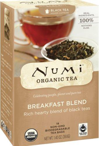 Numi Organic Tea Breakfast Blend, Full Leaf Black Tea, 18 Count non-GMO Tea Bags (Pack of 3) - Organic Assam Black Tea
