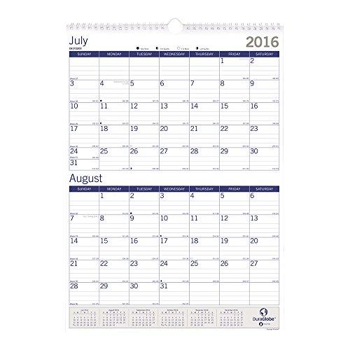 Blueline 2 Month Academic Wall Calendar  Duraglobe  July 2016   July 2017  12 X 17   Ca172203 17
