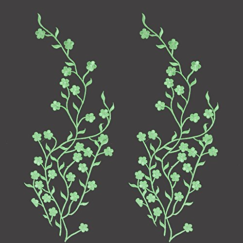 TWO Big Flower Leaf Vines Embroidery Applique Patch, Plum Blossom Flower Patch, Iron on Applique, Flower Applique Patch (Apple Green)