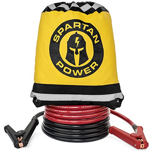 0 Gauge Heavy Duty Jumper Cables Booster Set by Spartan Power - 1/0 AWG, 10 Foot Made in the USA