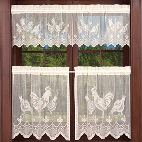 AiFish Beige Lace Sheer Curtain Valance and Tier 3 Piece Kitchen Cafe Curtains Rooster Kitchen Curtain Panel Halloween Easter Tulle Door Curtain Rod Pocket Short Drapes Voile Window Treatment Set