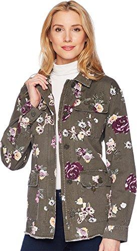 Levi's Women's Slub Floral Printed Cotton Two Pocket Shirt Jacket, XL - Printed Denim Jacket