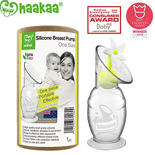 Haakaa Breast Pump with Suction Base and Flower Stopper 100% Food Grade Silicone BPA PVC and Phthalate Free (5oz/150ml) (White)