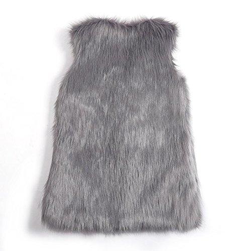 X piel para negro invierno sin de Chaleco manga Gris Large de de mujeres imitación corto WqS88wH7pF
