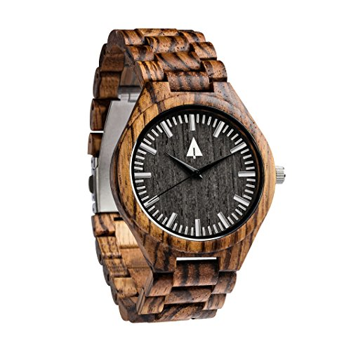 Treehut Men's Zebrawood Wooden Watch with All Zebrawood Wood Strap Quartz Analog with Quality Miyota Movement and Stainless Steel Tri-Fold Clasp with Push Buttons