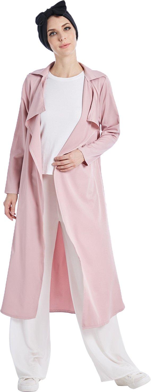 YI HENG MEI Women's Elegant Modest Muslim Solid Long Trench Coat Spring Autumn Overcoat,Pink,S