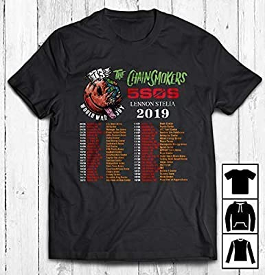 Men's The Chainsmokers 5SOS Lennon Stelia Tour 2019 T-Shirt Long T-Shirt Sweatshirt Hoodie
