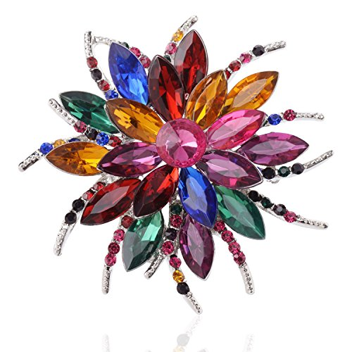 TAGOO Blooming Flowers Angel Tear Brooch Pin Corsage Scarf Clip in Crystal Unisex for Women&Men Banquet Wedding Casual Dailywear (Flower Colorful 2.36''x2.36'') by Tagoo