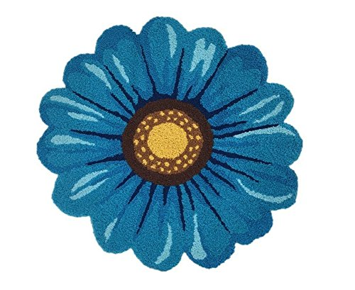 Blue Flowers Round Area Rugs-Judy Dre am Handmade Sunflowers Acrylic Rug Bedroom/Living Room/Kitchen/Bathroom/Bedside Floor Mat Non-slip Washable Doormat 25.6