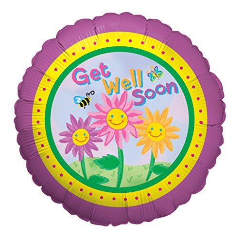 Betallic Happy Flowers Get Well Foil Flat Balloon, 18