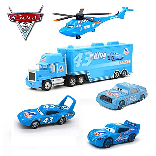 Disney 5Pcs Disney Pixar Cars 2 Diecasts Car Toy Blue Dinosaur DINOCO Lightning McQueen Chick Hicks King Helicopter Toys Gift for Kid 1 ()