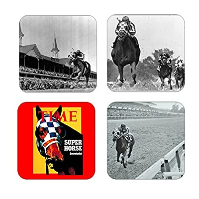 Set Of 4 Coasters With Cork Backing Secretariat Wins Triple Crown Horse Of The Year
