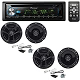 Pioneer DEH-X6900BT Single DIN Bluetooth In-Dash CD/AM/FM Car Stereo with (2 PAIRS) JVC CS-J620 300W 6-1/2 CS Series 2-Way Coaxial Car Speakers