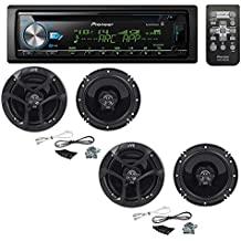 "Pioneer DEH-X6900BT Single DIN Bluetooth In-Dash CD/AM/FM Car Stereo with (2 PAIRS) JVC CS-J620 300W 6-1/2"" CS Series 2-Way Coaxial Car Speakers"