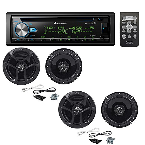Pioneer DEH-X6900BT Single DIN Bluetooth in-Dash CD/AM/FM Car Stereo with (2 Pairs) JVC CS-J620 300W...