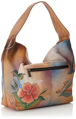 Collage Artwork Original Collage Leather Bag Women's Hand Shoulder One Anuschka Size Painted Genuine Hobo TpFxwBqR