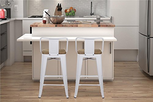 GIA Low Back Metal Barstool with Wooden Seat 24